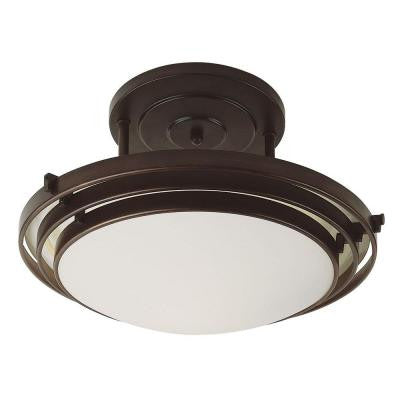 Stewart 2-Light Rubbed Oil Bronze CFL Ceiling Semi-Flush Mount Light