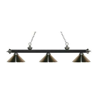 Elba 3-Light Matte Black and Brushed Nickel Island Light with Brushed Nickel Shades