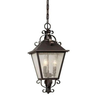 3-Light Outdoor Antique Bronze Pendant with Clear Seeded Glass Panels