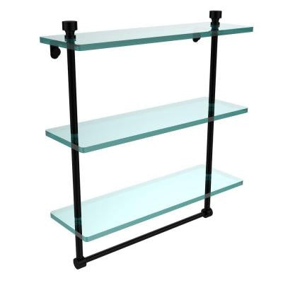 Foxtrot Collection 5 in. W x 16 in. L Triple Tiered Glass Shelf with Integrated Towel Bar in Matte Black
