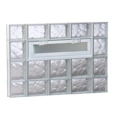 34.75 in. x 27 in. x 3.125 in. Vented Wave Pattern Glass Block Window