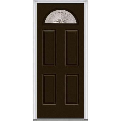 36 in. x 80 in. Heirloom Master Decorative Glass 1/4 Lite Painted Majestic Steel Prehung Front Door