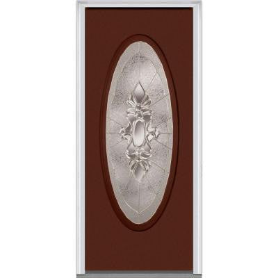 32 in. x 80 in. Heirloom Master Decorative Glass Full Oval Lite Painted Majestic Steel Prehung Front Door