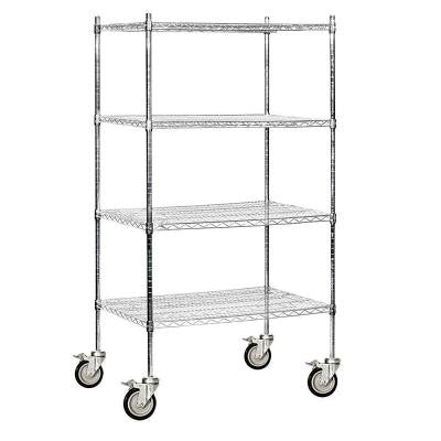 9600M Series 36 in. W x 80 in. H x 24 in. D Industrial Grade Welded Wire Mobile Wire Shelving in Chrome