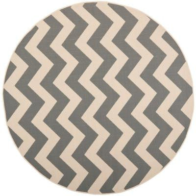 Courtyard Grey/Beige 7 ft. 10 in. x 7 ft. 10 in. Round Indoor/Outdoor Area Rug