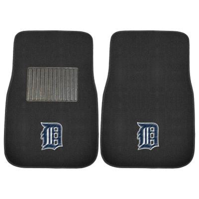 MLB Detroit Tigers 2-Piece 17 in. x 25.5 in. Carpet Embroidered Car Mat
