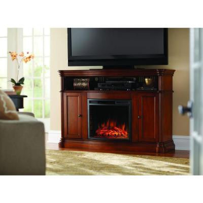 Montero 56 in. Media Console Infrared Electric Fireplace in Aged Cherry