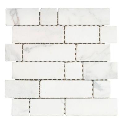 Statuario Block White 12 in. x 12 in. x 8 mm Marble Mosaic Tile