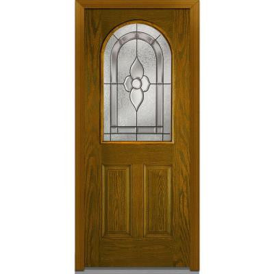 32 in. x 80 in. Master Nouveau Decorative Glass Round Top 1/2 Lite 2-Panel Finished Oak Fiberglass Prehung Front Door