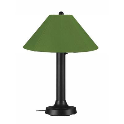 Catalina 34 in. Outdoor Black Table Lamp with Palm Shade