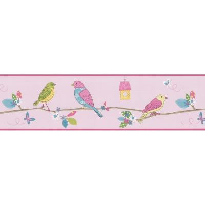 6.8 in. Social Birdie Border Pink Quilted Birds Border