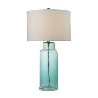 Glass Bottle 30 in. Seafoam Green Table Lamp with Shade