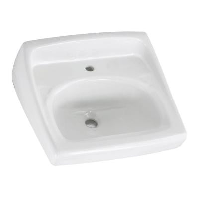 Lucerne Wall Hung Bathroom Sink in White with Less Overflow Center Hole Only