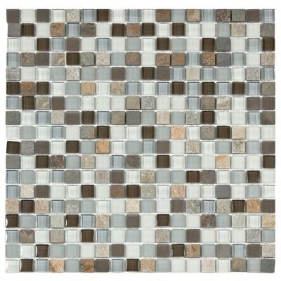 Tessera Mini Tundra 11-3/4 in. x 11-3/4 in. x 8 mm Glass and Stone Mosaic Wall Tile