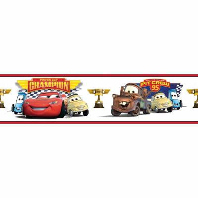 5 in. x 9.25 in. Cars Piston Cup Champion 1-Piece Peel and Stick Border