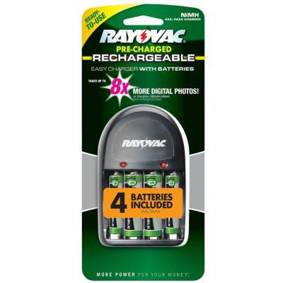 NiMH AA/AAA Easy Charger with 2 AA and 2 AAA Battery Included