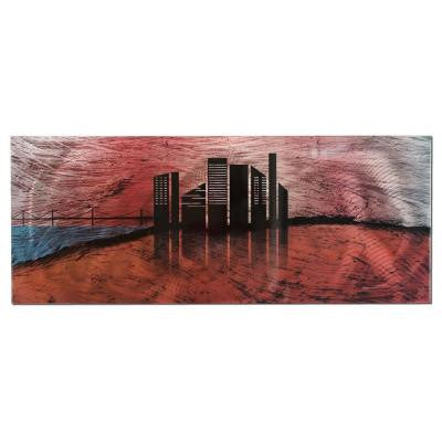 Brevium 19 in. x 48 in. City Silhouette Metal Wall Art