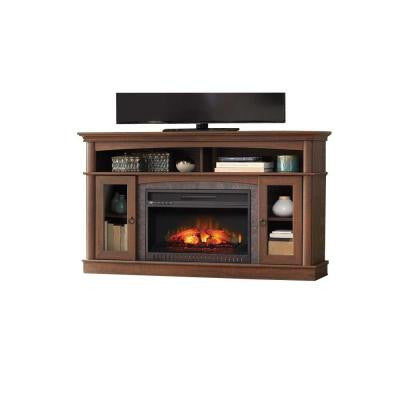 Rinehart 59 in. Console Electric Fireplace in Medium Brown Finish