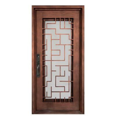 40 in. x 98 in. Bel Sol Classic Full Lite Painted Bronze Decorative Wrought Iron Prehung Front Door