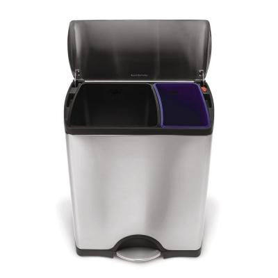 12 Gal. Rectangular Fingerprint-Proof Brushed Stainless Steel Step Recycler Trash Can