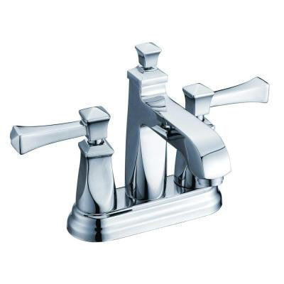 4 in. Minispread 2-Handle Deck-Mount Bathroom Faucet in Polished Chrome with Pop-Up Drain