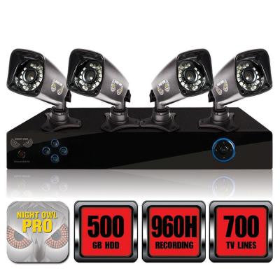 PRO Series 4-Channel 960H Surveillance System with 500GB HDD and (4) 700 TVL Cameras