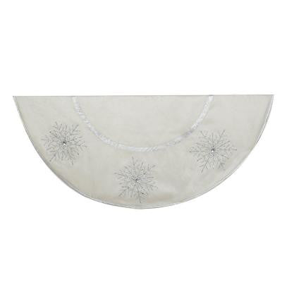 54 in. Ivory with Crystal Lace Snowflake Christmas Tree Skirt