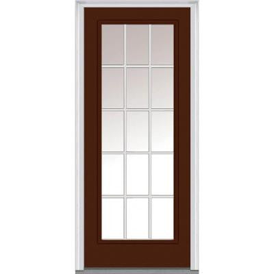36 in. x 80 in. Classic Clear Glass GBG Full Lite Painted Builder's Choice Steel Prehung Front Door