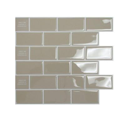 9.75 in. x 10.96 in. Subway Mosaic Decorative Wall Tile in Sand (12-Piece)