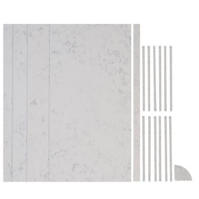 48 in. x 96 in. x 84 in. 18-piece Retro Fit Over Existing Shower Surround in Worthington White