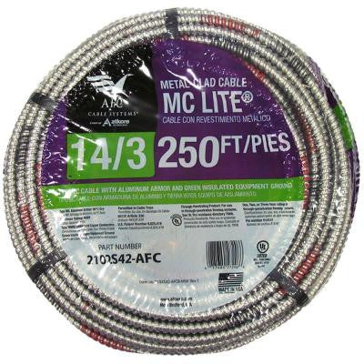 250 ft. 14-3 Solid MC Lite Cable