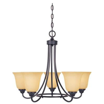 Madison 5-Light Oil Rubbed Bronze Chandelier with Amber Glass Shades