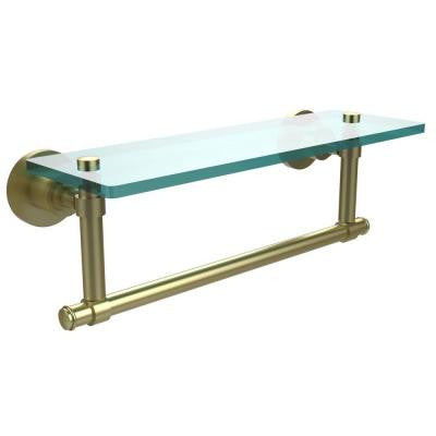 Washington Square Collection 16 in. W Glass Vanity Shelf with Integrated Towel Bar in Satin Brass