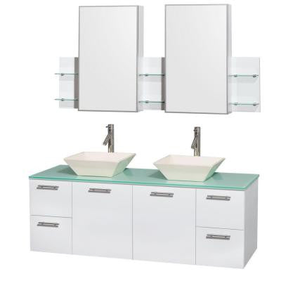 Amare 60 in. Double Vanity in Glossy White with Glass Vanity Top in Green, Porcelain Sinks and Medicine Cabinet