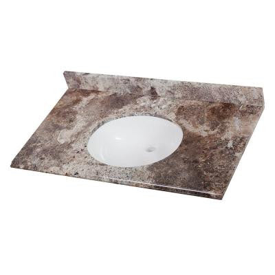 37 in. Stone Effects Vanity Top in Avalon with White Basin