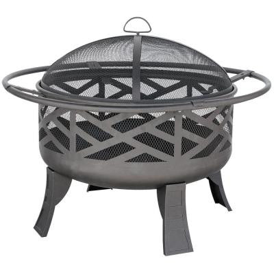 32 in. Steel Black Deep Bowl Fire Pit