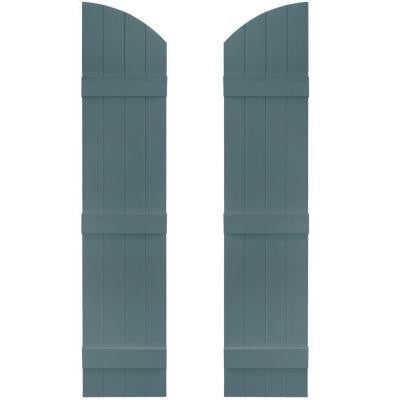 14 in. x 61 in. Board-N-Batten Shutters Pair, 4 Boards Joined with Arch Top #004 Wedgewood Blue