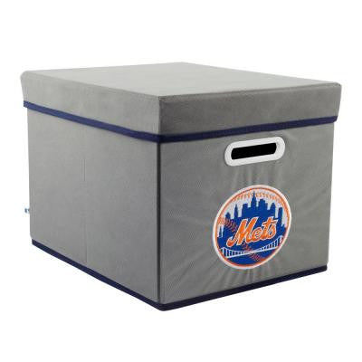 MLB STACKITS New York Mets 12 in. x 10 in. x 15 in. Stackable Grey Fabric Storage Cube