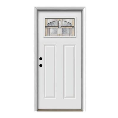 36 in. x 80 in. Craftsman Portage 1-Lite Primed Premium Steel Prehung Front Door with Brickmould