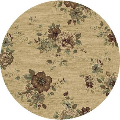 Morgan Beige 5 ft. 3 in. x 5 ft. 3 in. Round Indoor Area Rug
