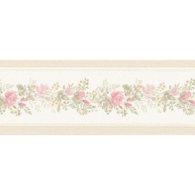 5 in. W x 180 in. H Alexa Pink Floral Meadow Border