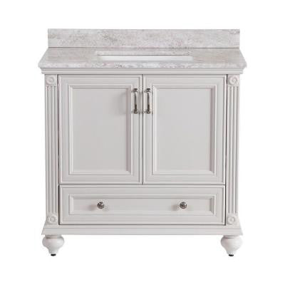 Annakin 36 in. Vanity in Cream with Stone Effects Vanity Top in Winter Mist