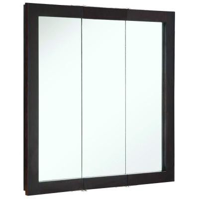 Ventura 30 in. x 30 in. Tri-View Surface-Mount Medicine Cabinet in Espresso
