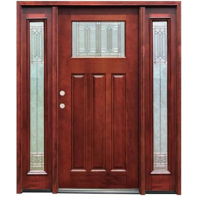 70 in. x 80 in. Diablo Craftsman 1 Lite Stained Mahogany Wood Prehung Front Door with 14 in. Sidelites