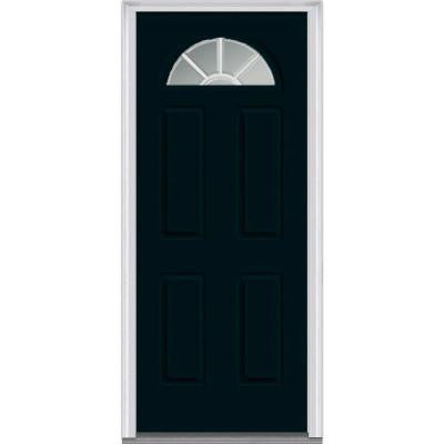 36 in. x 80 in. Classic Clear Glass GBG 1/4-Lite Painted Builder's Choice Steel Prehung Front Door