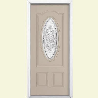 36 in. x 80 in. New Haven Three Quarter Oval Lite Painted Smooth Fiberglass Prehung Front Door with Brickmold