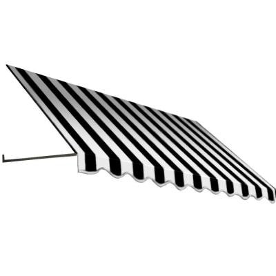 6.375 ft. Dallas Retro Window/Entry Awning (24 in. H x 36.375 in. D) in Black/White Stripe