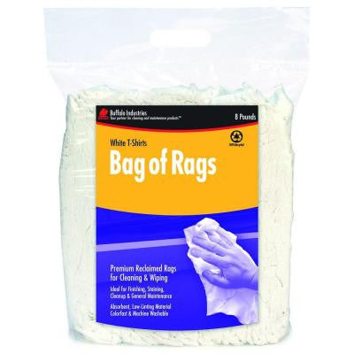 8 lb. Recycled White Cloth Rags Compressed Poly Bag