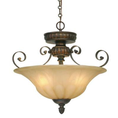 Ocatavia Collection 3-Light Leather Crackle Semi-Flush/Pendant Convertible