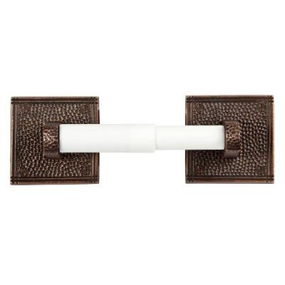 Double Post Toilet Paper Holder with Square Backplate in Antique Copper